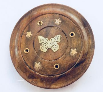 "Disc 3"" Wooden Incense Holder cum Ash Catcher  - BUTTERFLY"
